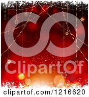 Clipart Of A Red Bokeh Flare Background With Suspended Christmas Stars And Snow Royalty Free Vector Illustration