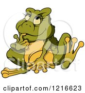 Clipart Of A Female Frog Thinking Royalty Free Vector Illustration by dero