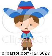 Clipart Of A Happy Little Cowboy In A Blue Hat And Chaps Royalty Free Vector Illustration