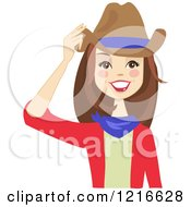 Clipart Of A Happy Brunette Cowgirl Woman Touching Her Hat With A Blue Stripe Royalty Free Vector Illustration