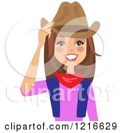 Happy Brunette Cowgirl Woman Touching Her Hat