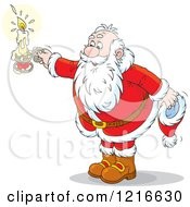 Clipart Of Santa Holding A Candle In One Hand And Hat In The Other Royalty Free Vector Illustration