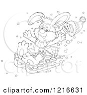 Clipart Of An Outlined Happy Rabbit Sledding Royalty Free Vector Illustration