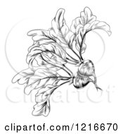 Clipart Of A Vintage Woodcut Styled Beet In Black And White Royalty Free Vector Illustration