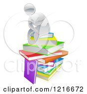 Clipart Of A Silver Person Thining Atop A Stack Of Books Royalty Free Vector Illustration by AtStockIllustration