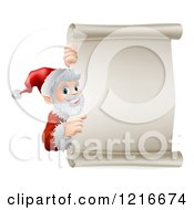 Clipart Of A Young Santa Claus Pointing To A Scroll Christmsa Sign Royalty Free Vector Illustration
