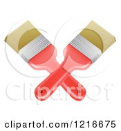 Clipart Of Crossed Paintbrushes Royalty Free Vector Illustration