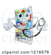 Smart Phone Mascot Holding A Thumb Up And Wearing A Stethoscope