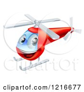 Clipart Of A Happy Red Helicopter Royalty Free Vector Illustration