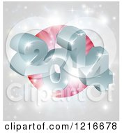 Clipart Of A 3d 2014 And Fireworks Over A Japan Flag Royalty Free Vector Illustration