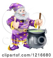 Clipart Of A Wizard Holding A Thumb Up And Stirring Contents In A Cauldron Royalty Free Vector Illustration by AtStockIllustration