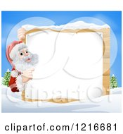 Clipart Of A Young Santa Claus Pointing To A Christmsa Sign In The Snow Royalty Free Vector Illustration