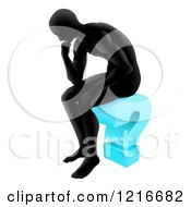 Clipart Of A Silhoeutted Man Thinking On A Blue Question Mark Royalty Free Vector Illustration
