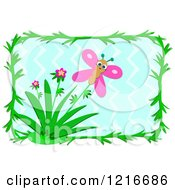 Happy Pink Butterfly And Flowers In A Frame Over Zig Zags