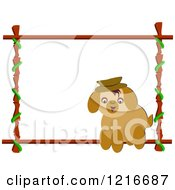 Happy Brown Dog And Bamboo Frame