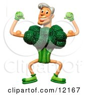 Clay Sculpture Clipart Strong Broccoli Man Flexing Royalty Free 3d Illustration