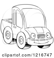 Clipart Of A Black And White Happy Smiling Pickup Truck Mascot Royalty Free Vector Illustration by Cory Thoman