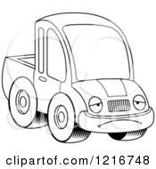 Clipart Of A Black And White Depressed Pickup Truck Mascot Royalty Free Vector Illustration