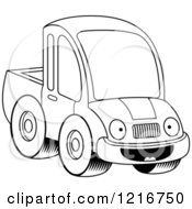 Clipart Of A Black And White Happy Pickup Truck Mascot Royalty Free Vector Illustration by Cory Thoman
