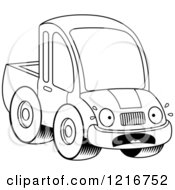 Clipart Of A Black And White Scared Pickup Truck Mascot Royalty Free Vector Illustration by Cory Thoman