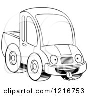 Clipart Of A Black And White Hungry Pickup Truck Mascot Royalty Free Vector Illustration by Cory Thoman