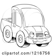 Clipart Of A Black And White Drunk Pickup Truck Mascot Royalty Free Vector Illustration by Cory Thoman