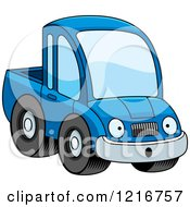Clipart Of A Surprised Blue Pickup Truck Mascot Royalty Free Vector Illustration by Cory Thoman