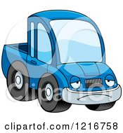 Clipart Of A Depressed Blue Pickup Truck Mascot Royalty Free Vector Illustration by Cory Thoman