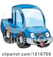 Clipart Of A Hungry Blue Pickup Truck Mascot Royalty Free Vector Illustration by Cory Thoman