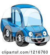Clipart Of A Happy Blue Pickup Truck Mascot Royalty Free Vector Illustration by Cory Thoman