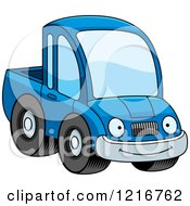 Clipart Of A Happy Smiling Blue Pickup Truck Mascot Royalty Free Vector Illustration