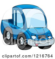 Clipart Of A Drunk Blue Pickup Truck Mascot Royalty Free Vector Illustration by Cory Thoman