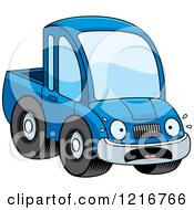 Clipart Of A Scared Blue Pickup Truck Mascot Royalty Free Vector Illustration