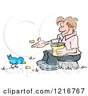Happy Man Sitting On A Stump And Feeding A Bird Peanuts