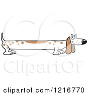 Clipart Of A Long White Dog With Brown Spots Royalty Free Vector Illustration
