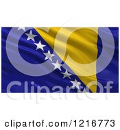 Clipart Of A 3d Waving Flag Of Bosnia And Herzegovina With Rippled Fabric Royalty Free Illustration