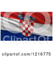 Clipart Of A 3d Waving Flag Of Croatia With Rippled Fabric Royalty Free Illustration
