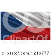 Clipart Of A 3d Waving Flag Of Czech Republic With Rippled Fabric Royalty Free Illustration