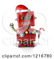 Clipart Of A 3d Vintage Red Christmas Robot Sledding Royalty Free Illustration