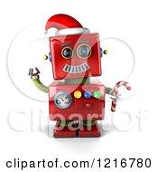 3d Vintage Red Christmas Robot Sledding