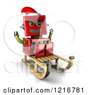 Clipart Of A 3d Vintage Red Christmas Robot On A Sled Royalty Free Illustration