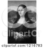 Clipart Of A Black And White Mona Lisa Oil On Poplar Painting Originally By Leonardo Da Vinci Royalty Free Illustration