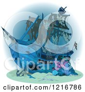 Clipart Of A Sunken Pirate Ship Royalty Free Vector Illustration