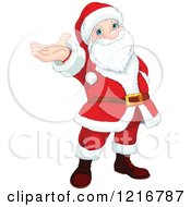 Clipart Of A Cartoon Santa Claus Holding Up His Hand Royalty Free Vector Illustration by Pushkin