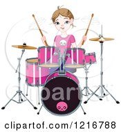 Clipart Of A Happy Teenage Drummer Girl Royalty Free Vector Illustration