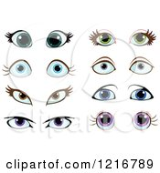 Clipart Of Pairs Of Female Eyes Royalty Free Vector Illustration