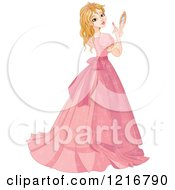 Clipart Of A Beautiful Princess In A Pink Gown Looking Back And Using A Mirror To Apply Lipstic Royalty Free Vector Illustration