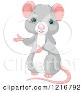 Clipart Of A Cute Blue Eyed Rat Presenting Royalty Free Vector Illustration by Pushkin