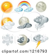 Clipart Of Weather Icons For Different Conditions Royalty Free Vector Illustration