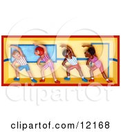 Clay Sculpture Clipart People Working Out In An Aerobics Fitness Class Royalty Free 3d Illustration